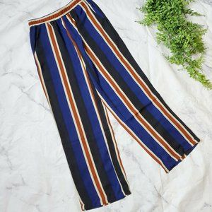 Ofmy Navy Striped Wide Leg Elastic High Waist Pant